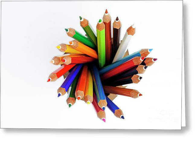 Colorful Crayons In Jar Greeting Card by Sami Sarkis