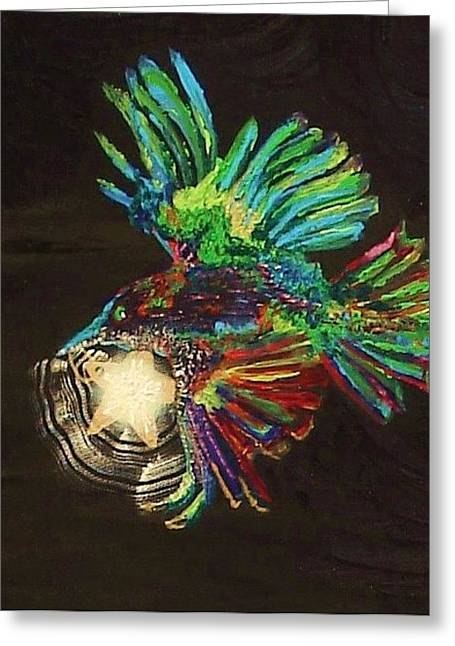 Colorful Crow To The Rescue Greeting Card by Lisa Kramer