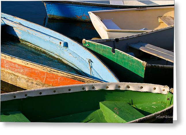 Colorful Dinghies In Rockport Massachusetts Greeting Card by Michelle Wiarda