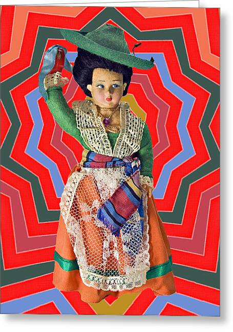 Colorful Doll Greeting Card by Susan Leggett