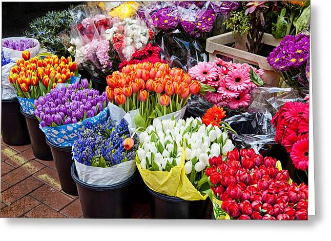 Colorful Flower Market Greeting Card by Cheryl Davis