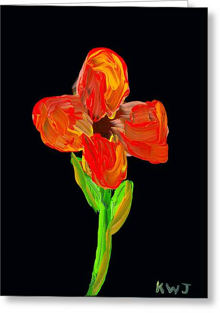 Colorful Flower Painting On Black Background Greeting Card