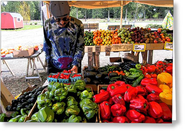 Greeting Card featuring the photograph Colorful Fruit And Veggie Stand by Kym Backland