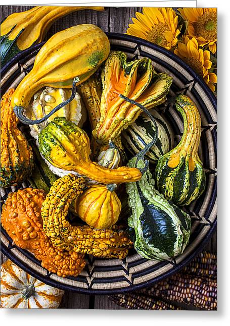 Colorful Gourds In Basket Greeting Card by Garry Gay