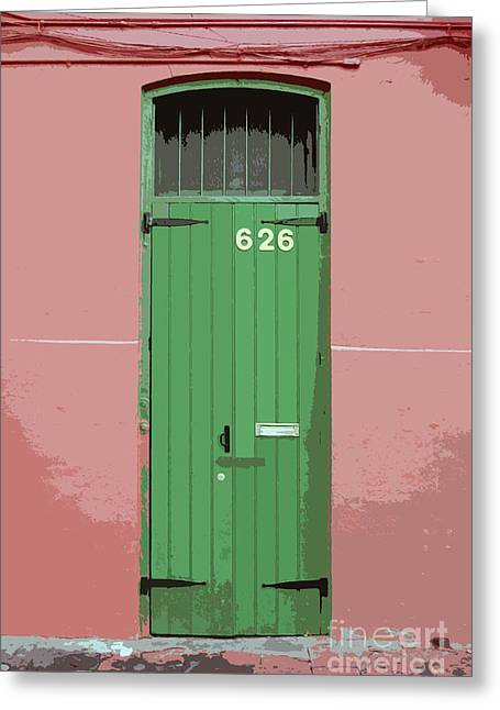 Colorful Green Arched Doorway French Quarter New Orleans Cutout Digital Art Greeting Card