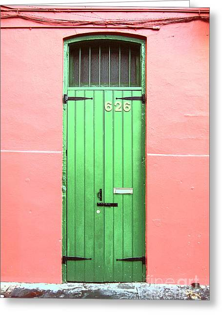 Colorful Green Arched Doorway French Quarter New Orleans Film Grain Digital Art Greeting Card