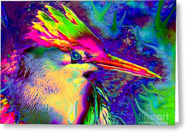 Colorful Heron Greeting Card by Doris Wood