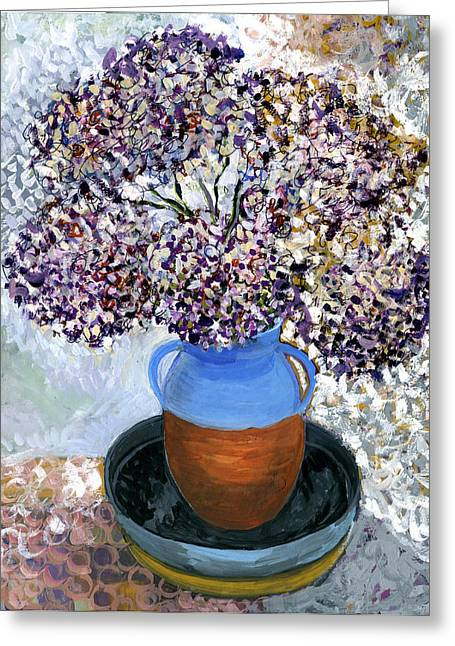 Colorful Impression Of Purple Flowers In Blue Brown Ceramic Vase Yellow Plate With Green Branches  Greeting Card by Rachel Hershkovitz