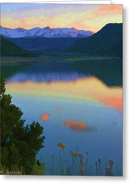 Colorful Lake Sunset Greeting Card