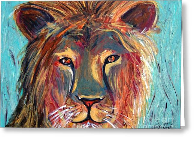 Colorful Lion Greeting Card by Jeanne Forsythe