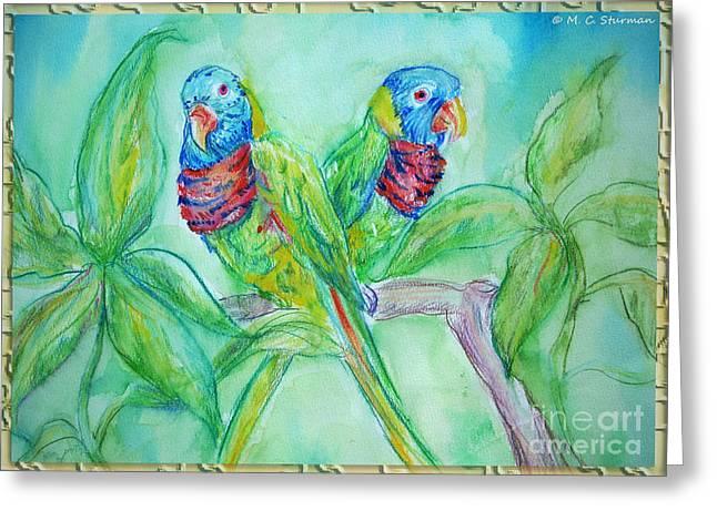 Colorful Lorikeet Couple Greeting Card by M C Sturman
