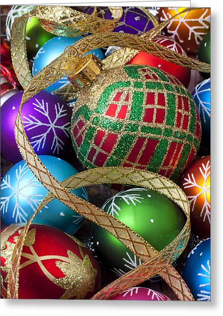 Christmas decorations greeting cards page 7 of 100 fine art america colorful ornaments with ribbon greeting card m4hsunfo