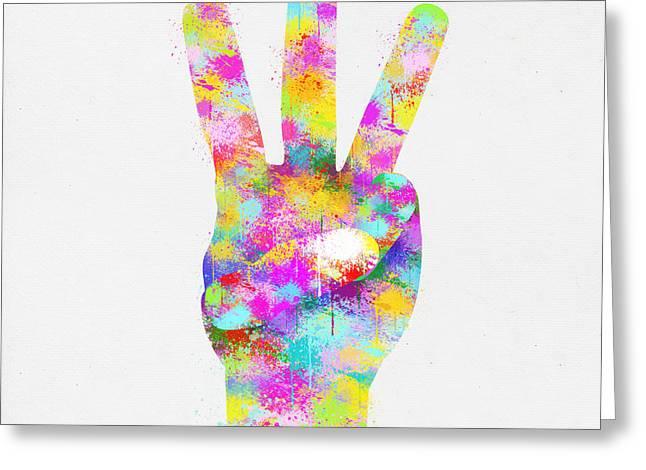 Colorful Painting Of Hand Point Three Finger Greeting Card by Setsiri Silapasuwanchai