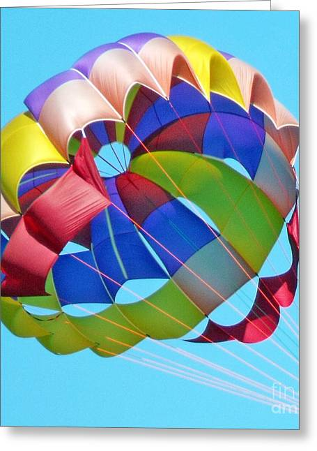 Greeting Card featuring the photograph Colorful Parachute by Val Miller