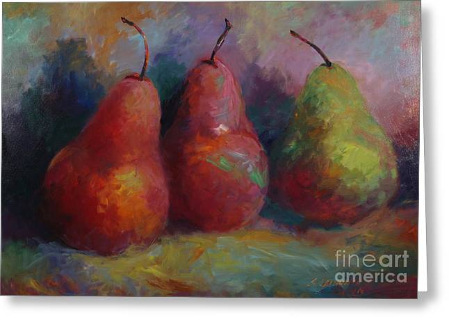Colorful Pears Greeting Card by Sandra Leinonen Dunn