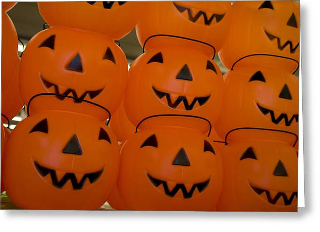 Colorful Plastic Jack-o-lanterns Grin Greeting Card by Stephen St. John