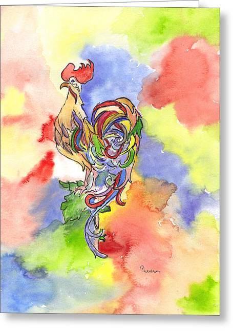Colorful Rooster Greeting Card by Theresa Jones