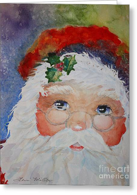 Colorful Santa Greeting Card by Terri Maddin-Miller