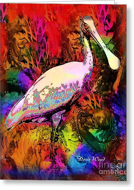 Colorful Spoonbill Greeting Card by Doris Wood