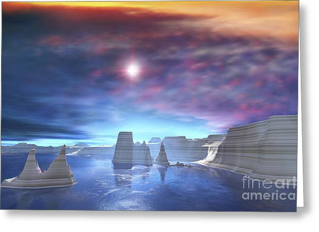Colorful Sunset On The Waters Of This Greeting Card by Corey Ford