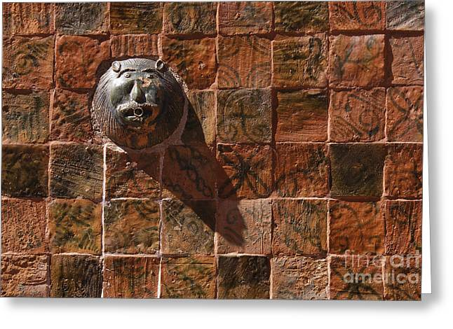 Colorful Tiles And Lion Face Fountain Greeting Card by Jeremy Woodhouse
