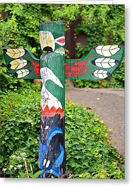 Colorful Totem Greeting Card by Susan Leggett
