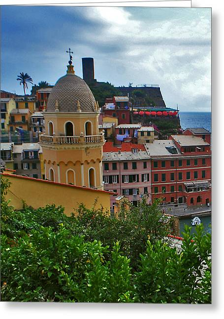Colorful Village Of Vernazza Located In Cinque Terre Liguria Italy Greeting Card by Jeff Rose