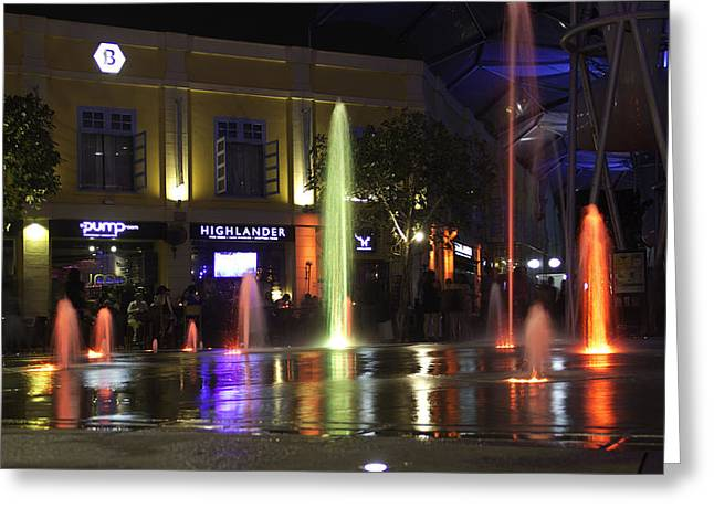 Colorful Water Jets At Clarke Quay In Singapore Greeting Card by Ashish Agarwal