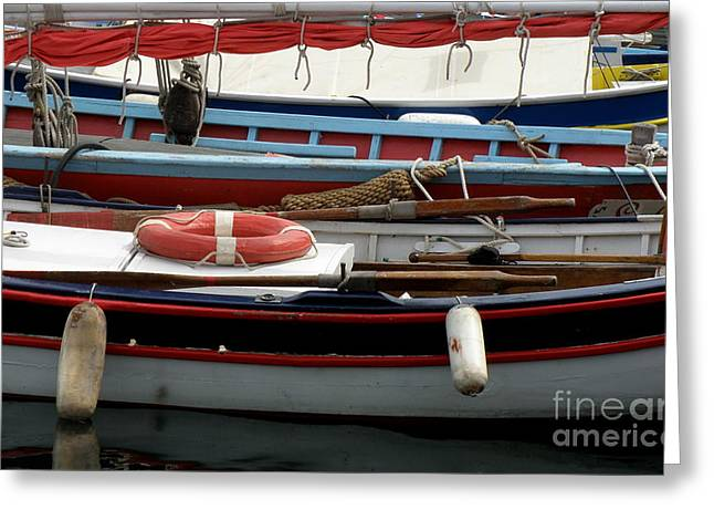 Colorful Wooden Boats Greeting Card by Lainie Wrightson