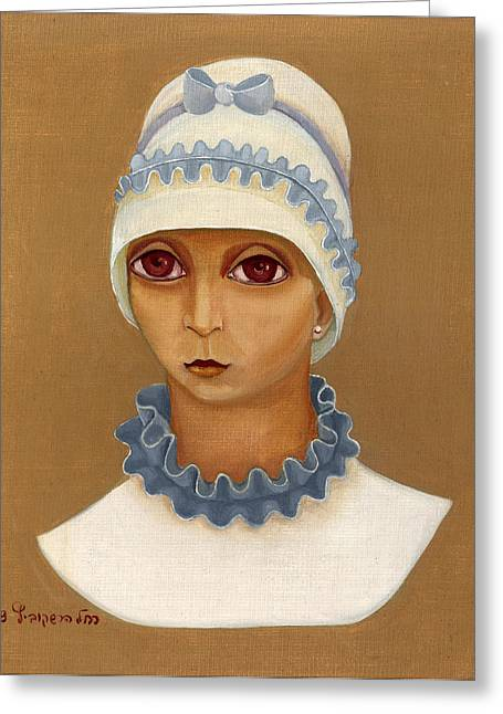 Colorful Young Woman Brown Eyes Blue White Hat Collar  With Ribbon Small Lips Greeting Card by Rachel Hershkovitz