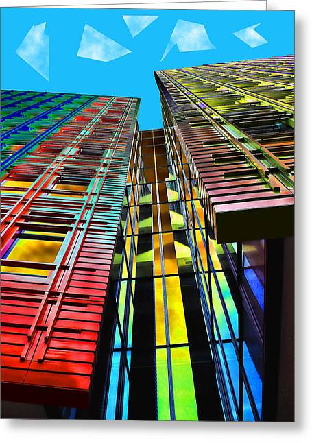 Colors In The City With Clouds Greeting Card by Jasna Buncic