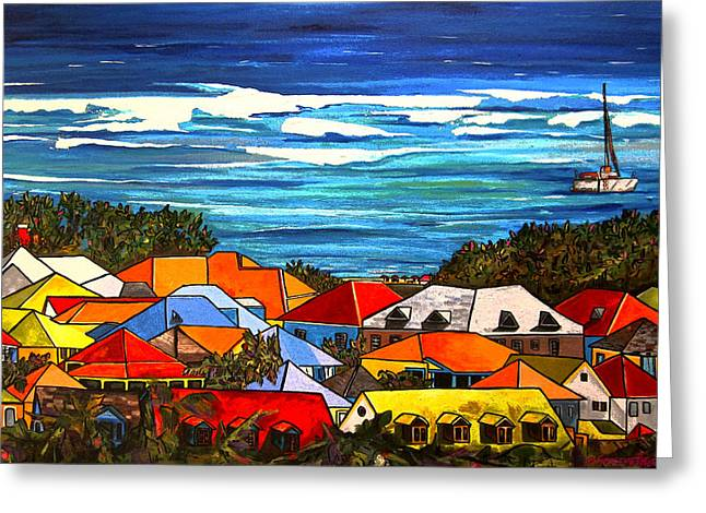 Roof Greeting Cards - Colors of St Martin Greeting Card by Patti Schermerhorn