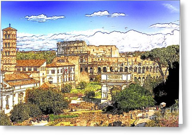 Colosseum And Roman Forum Greeting Card by Stefano Senise