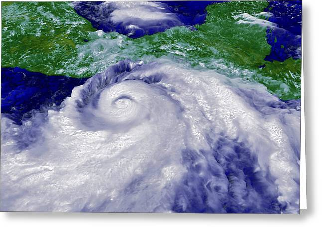 Coloured Satellite Image Of Hurricane Pauline Greeting Card by Nasagoddard Space Flight Center