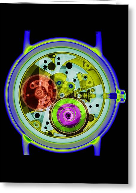 Coloured X-ray Of A 17-jewel Wrist-watch Greeting Card by D. Roberts