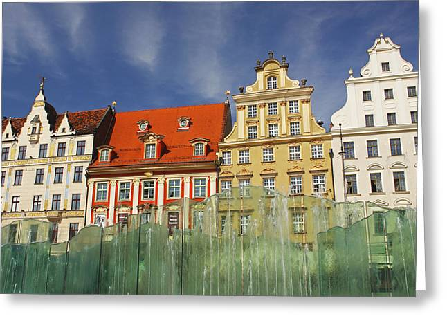 Colourful Buildings And Fountain Greeting Card by Trish Punch