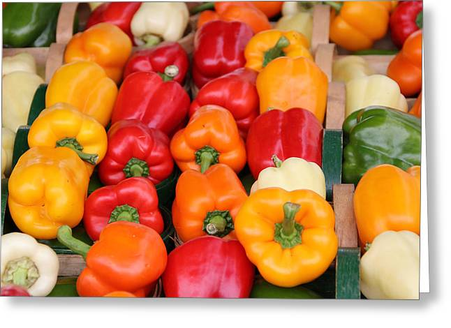 Colourful Peppers Greeting Card by Kim French