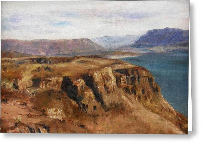 Greeting Card featuring the painting Columbia River Gorge I by Lori Brackett
