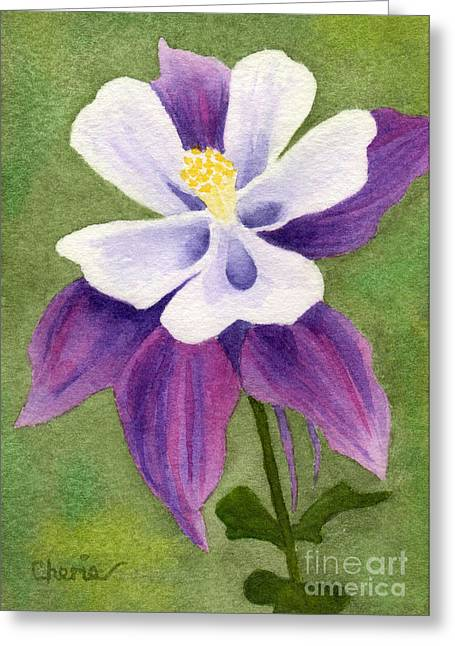 Columbine On The Green Greeting Card by Vikki Wicks