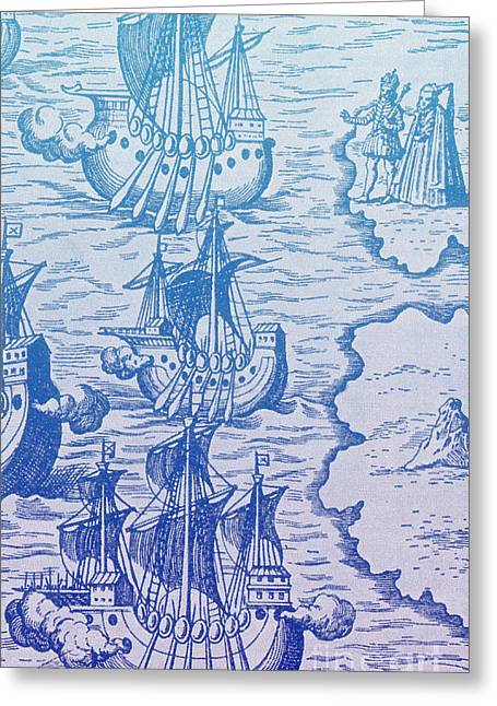 Columbus Caravels Depart Spain, 1492 Greeting Card by Photo Researchers