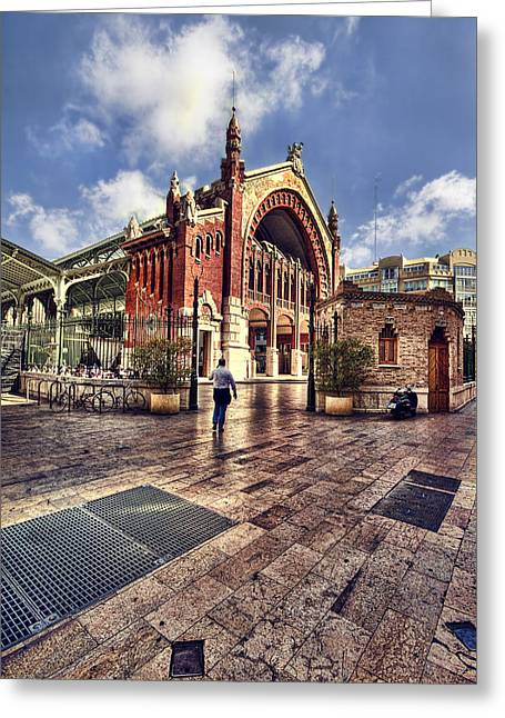 Columbus Market Greeting Card by Gabriel Calahorra