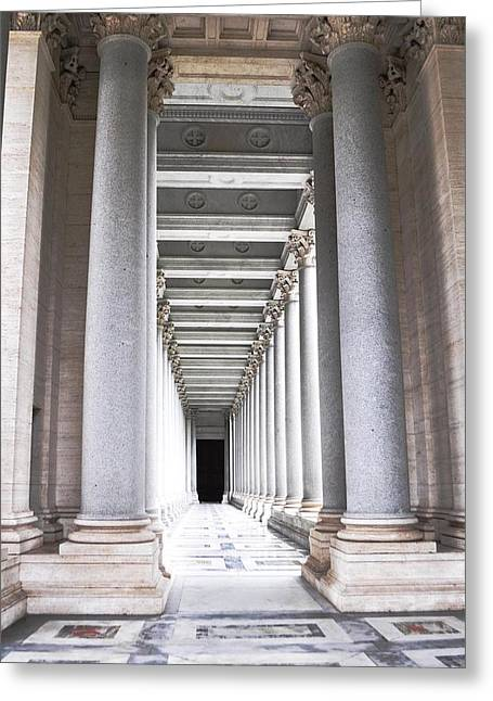 Columns In Basilica St. Paul Greeting Card by Heather Marshall