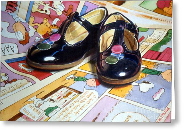 Comic Shoes Greeting Card by Phil Hopkins