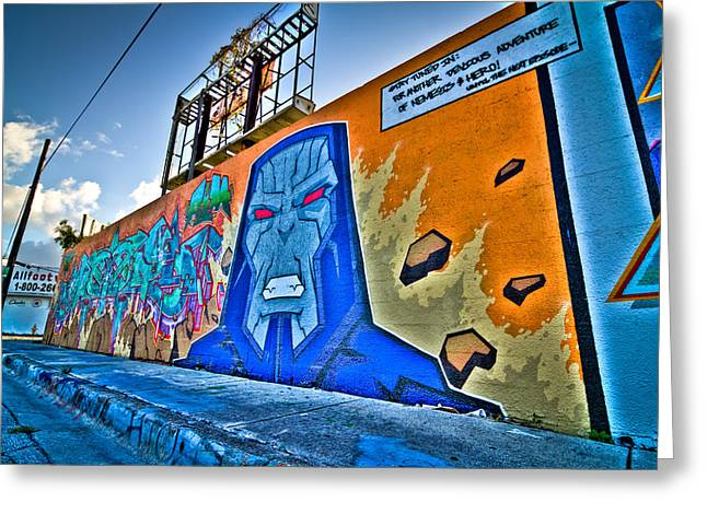Comic Villain In Miami Wynwood Greeting Card by Andres Leon