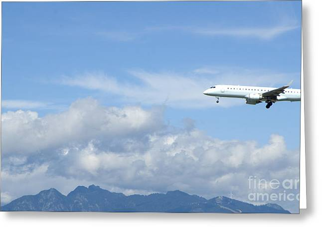 Commercial Airliner Coming In For A Landing Greeting Card by Marlene Ford