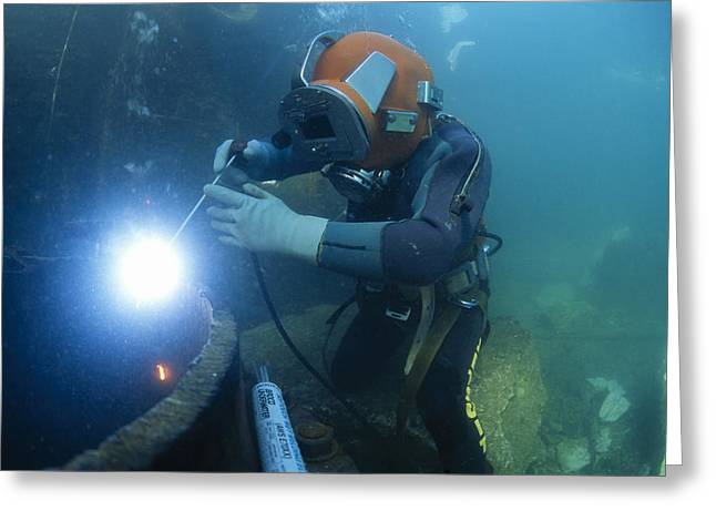 Commercial Diver Welding Greeting Card by Alexis Rosenfeld
