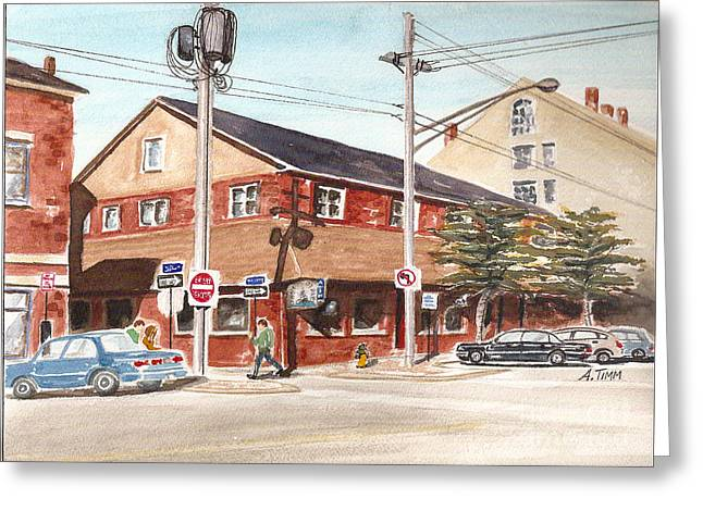 Commercial Street Pub Greeting Card by Andrea Timm