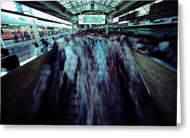 Commuters Crowd A Subway Platform Greeting Card by Paul Chesley