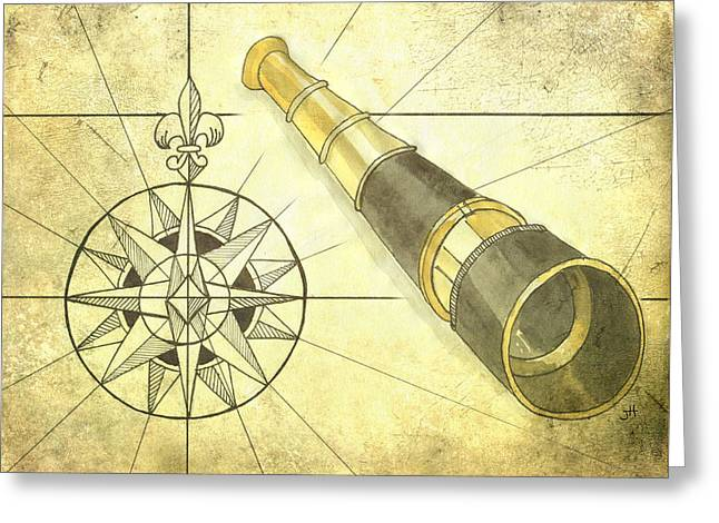 Compass And Monocular Greeting Card