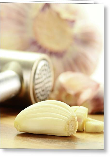 Composition With Fresh Garlic On Breadboard Greeting Card by T Monticello
